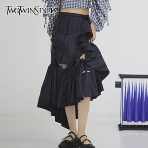 TWOTWINSTYLE Elegant Asymmetrical Women Skirt High Waist Print Patchwork Ruffles Hollow Out Patchwork Bownot Skirts Female Tide