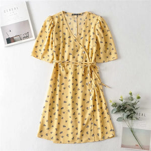 Yuan version of rayon rouje the same 2020 summer new French retro Little Floral Dress V-neck Chiffon