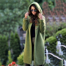 Load image into Gallery viewer, Women's Sweaters Winter 2020 Fashionable Casual Loose Sweater Female Autumn Cardigans Single Breasted Puff Hooded Coat Plus Size
