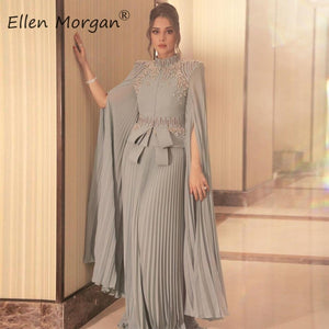 Arabic Muslim Silver Chiffon Long Evening Dresses 2020 Engagement Wedding Party Events High Neck Formal Gowns For Women Wear