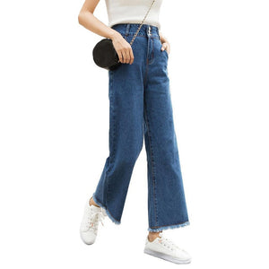 Casual Women High Waist Straight Wide Leg Loose Denim Pants Jeans Ninth Trousers