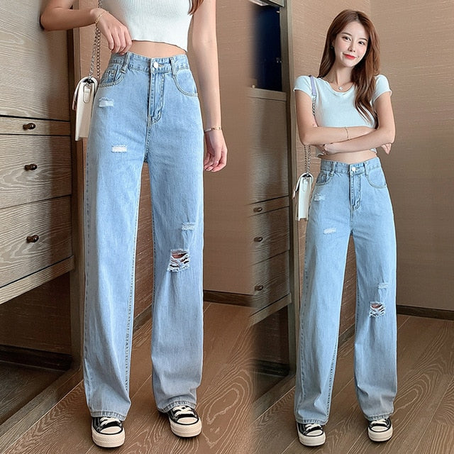 NEW 2020 Fashion Women pants High quality Cotton Hole Loose wide leg pants Casual high waist Multi-pockets Solid female pants