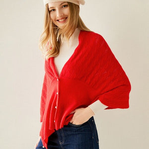 In 2020, the new fashion of 100% pure cashmere cardigan for women is a hollow-out shawl knit sweater