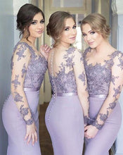 Load image into Gallery viewer, Lilac Long Sleeves Cheap Bridesmaid Dresses Illusion Under Mermaid Appliques Beaded Long Wedding Party Dresses
