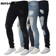 Load image into Gallery viewer, MUYOGRT Skinny Trousers Men's Jeans Pants Casual 2020 Autumn Male Ripped Slim Biker Sweatpants Sexy Hole Outwears Pants