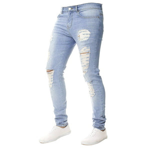 MUYOGRT Skinny Trousers Men's Jeans Pants Casual 2020 Autumn Male Ripped Slim Biker Sweatpants Sexy Hole Outwears Pants