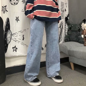 Autumn winter 2020 Fashion Casual men's jeans youth students Korean trendy loose casual straight wide leg wild long pants
