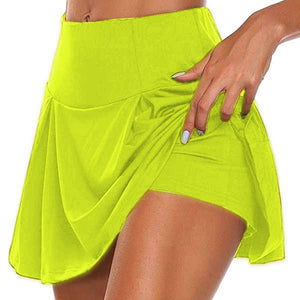 Summer  Light Fake Two Piece Skirts Women Shorts Casual Sports Beach Mid Waist Solid Shorts Fashion Lace-up Ruffle