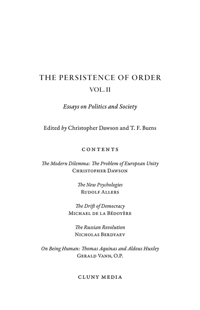 The Persistence of Order, Vol. II - ClunyMedia