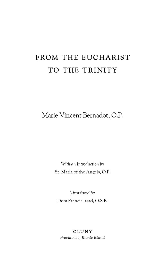 From the Eucharist to the Trinity