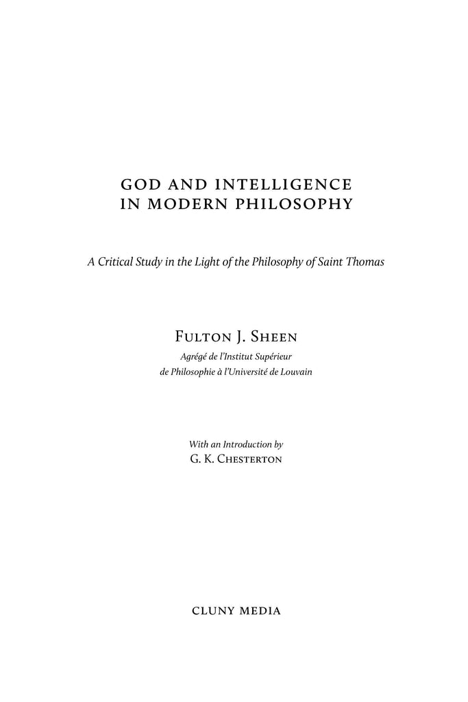 God and Intelligence in Modern Philosophy