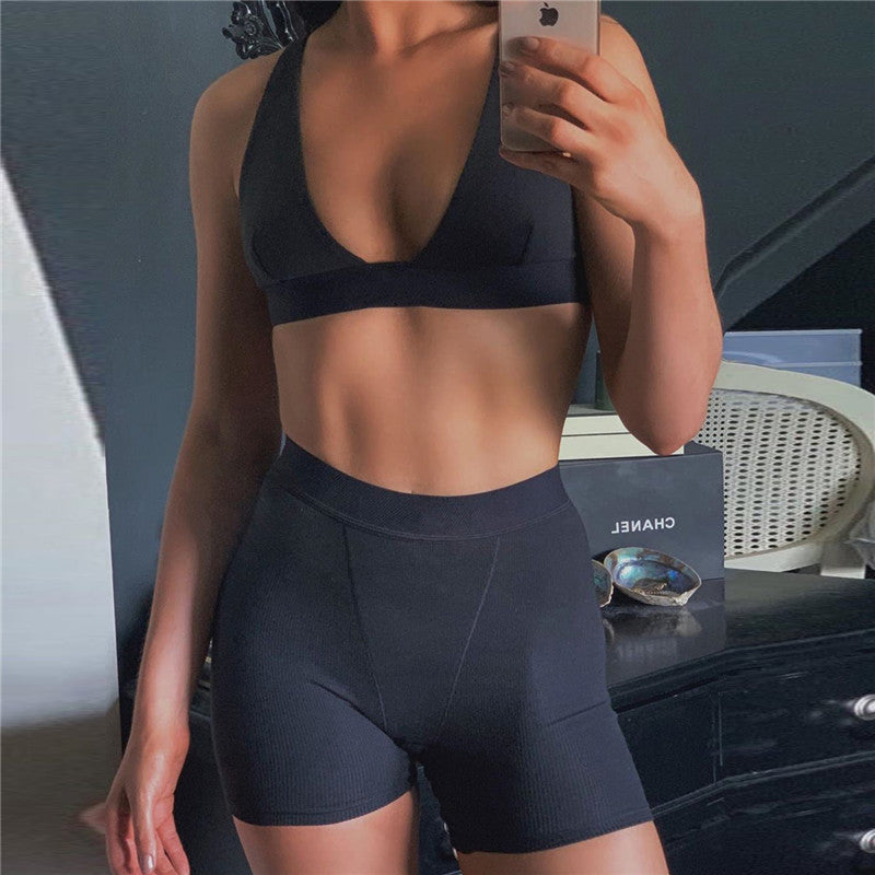 Crop Tops And Short Fitness Set