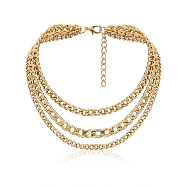 Link Multi Layer Chain Choker Necklacer