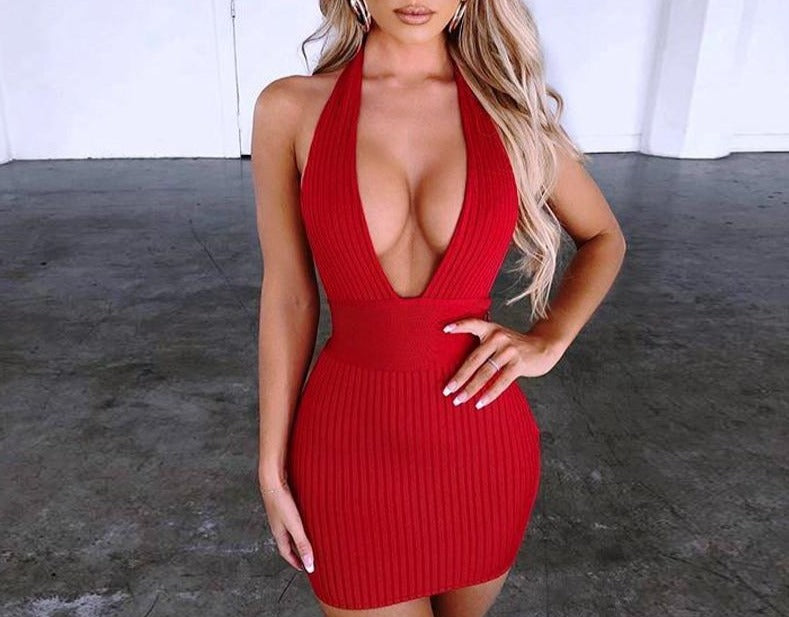 Knitted Deep V Neck Backless Dresses