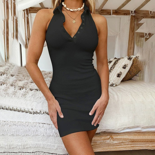 V-Neck Mini Dresses