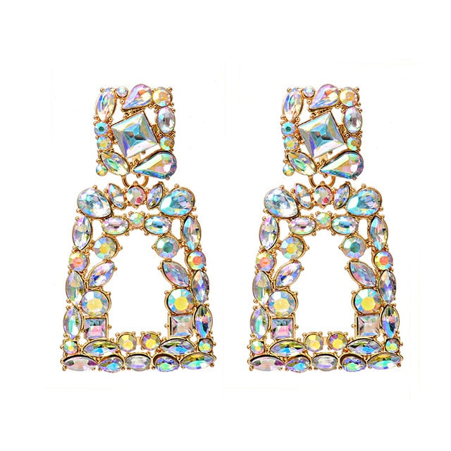 Long Square Rainbow Crystals Dangle Drop Earrings