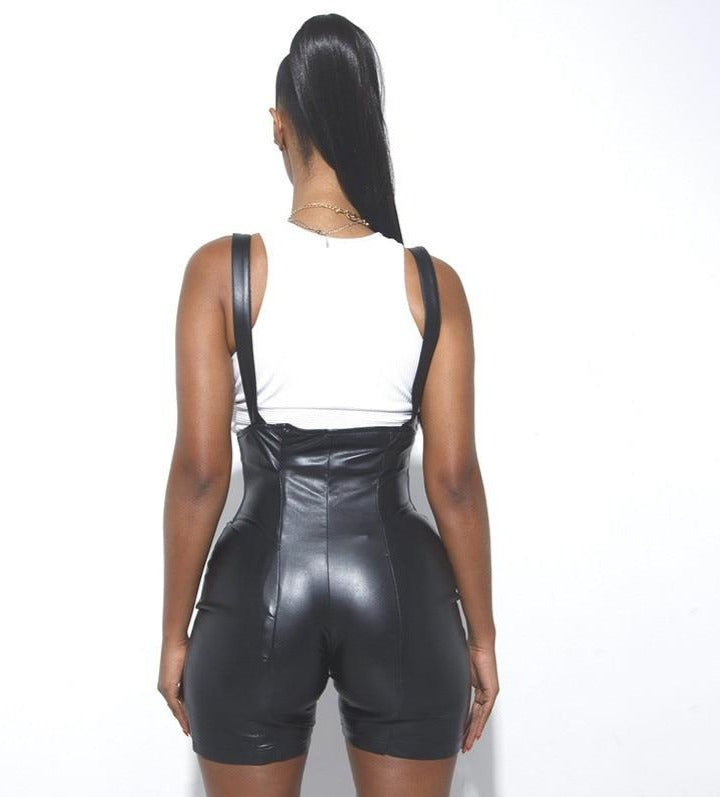 Black Zipper Corset Romper Shorts