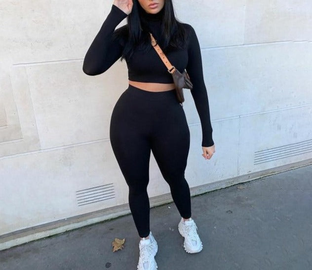 Long Sleeve Crop Tops Leggings Tracksuit