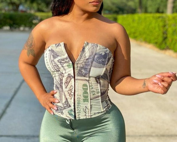 Money Print Corset Crop Tank Top