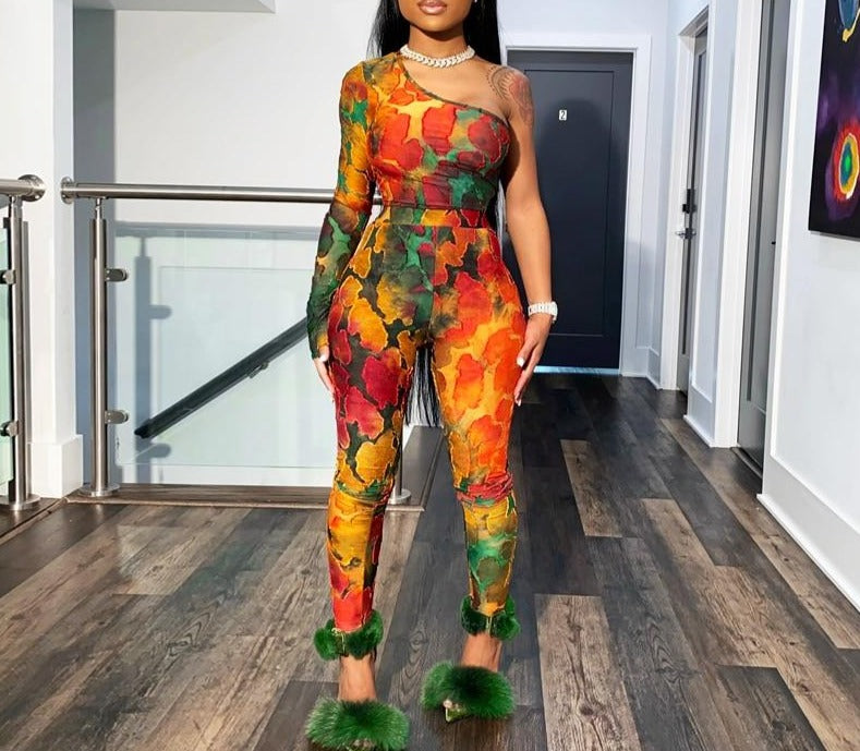 One-Shoulder Tie Dye  2 Piece Set