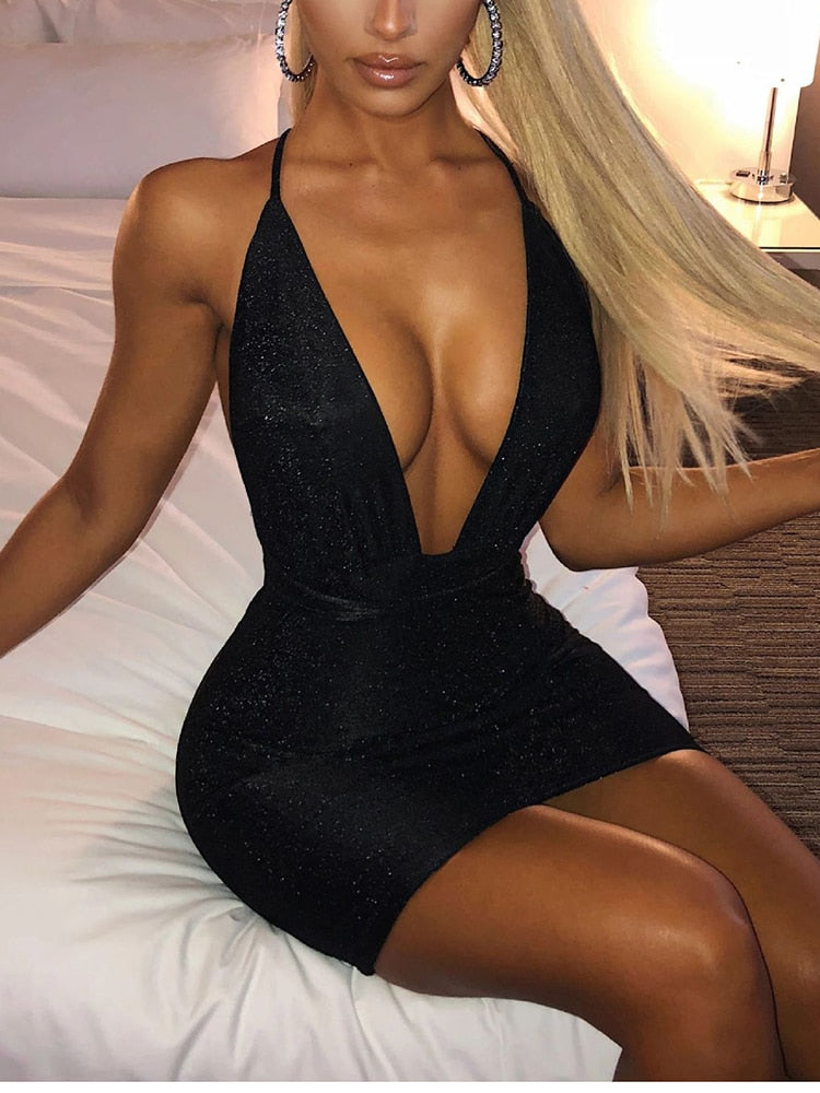 Glam V Neck Glitter Dress