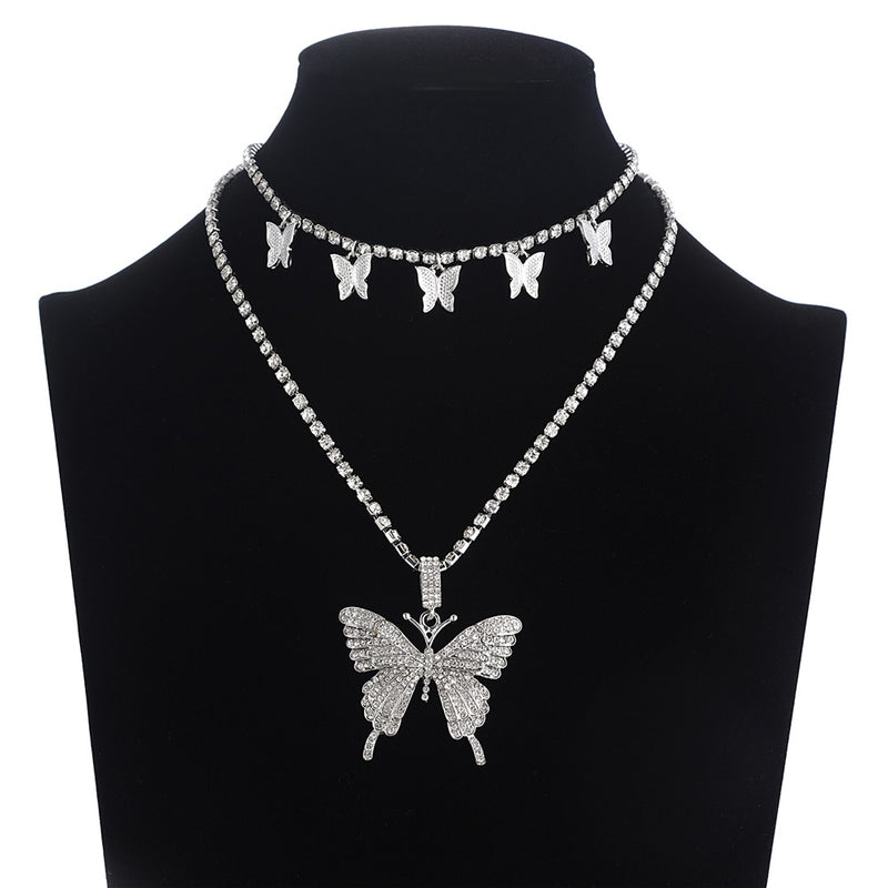 Layered Butterfly Necklace Chain Set Luxury Rhinestones Choker/Necklace