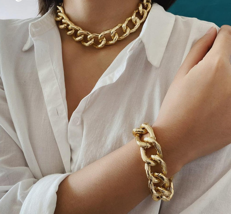 Chunky Cuban Chain Necklace &  Bracelet