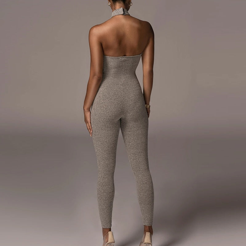 Ribbed Backless Jumpsuit