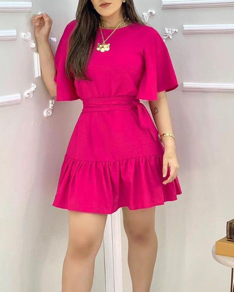 Ruffles Ruched  Casual Dress