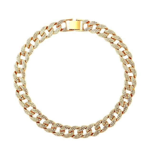 Rhinestone Cuban Link Necklaces Collar