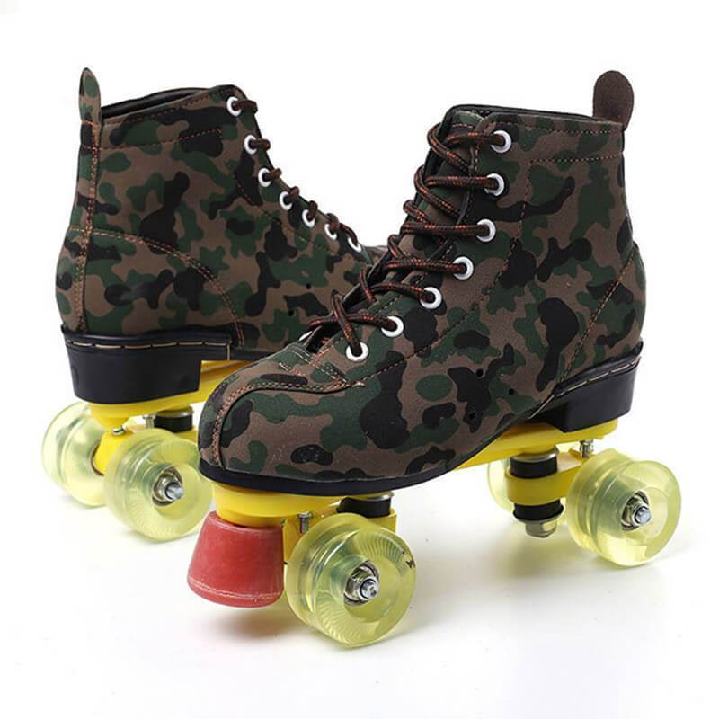 Outdoor Camouflage Adult Best Starter Flash Leather Roller Skates