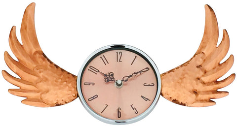 Copper winged wall clock with glass cover
