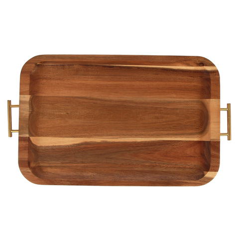 Gold wood serving tray