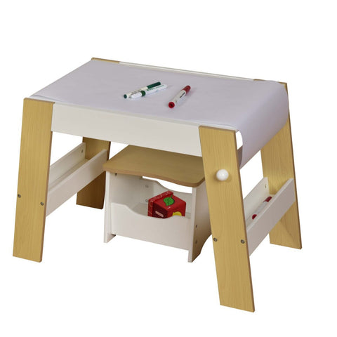 Kids play table and stool white and pine