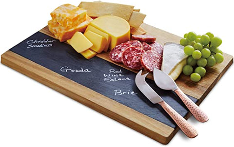 Wooden cheese board with slate and knife