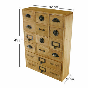 14 drawer storage unit solid wood desktop organiser
