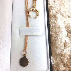 Simply Elegant Gold plated crescent pendant necklace Moon