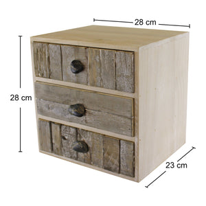 3 drawer unit driftwood effect drawers