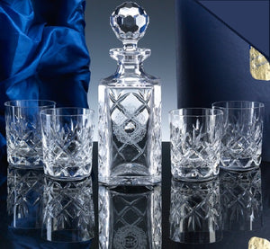Inverness Crystal Whisky Set Panelled Decanter