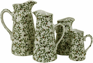 Set of 4 ceramic jugs embossed green floral design decorative kitchenware