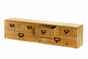 Wide 6 drawers wood storage organizer 80x15x20cm