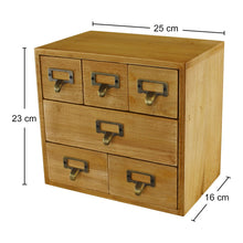Load image into Gallery viewer, 6 drawer rustic small storage unit, trinket drawer