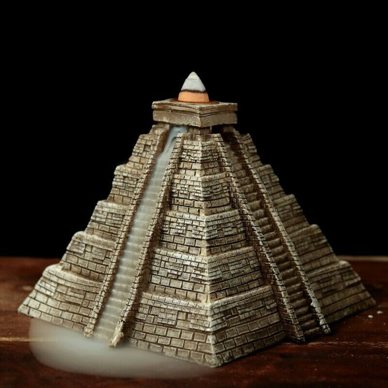Aztec pyramid backflow incense cone burner with fragrant mist ornament
