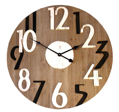 Numbered wooden clock with attractive white colors