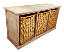 Load image into Gallery viewer, Wooden storage bench with 3 large baskets 101cm