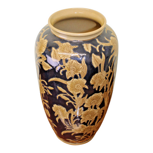 Ceramic embossed vase navy gold regal design 35cm
