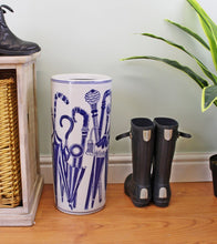 Load image into Gallery viewer, Umbrella stand, vintage blue & white umbrellas design