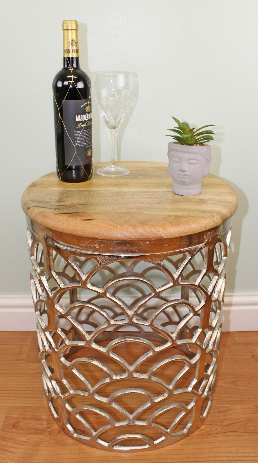Decorative silver metal Topside table with a wooden top