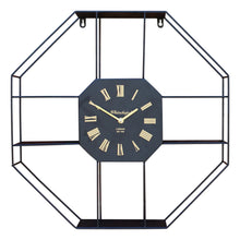 Load image into Gallery viewer, Black metal clock with shelving display