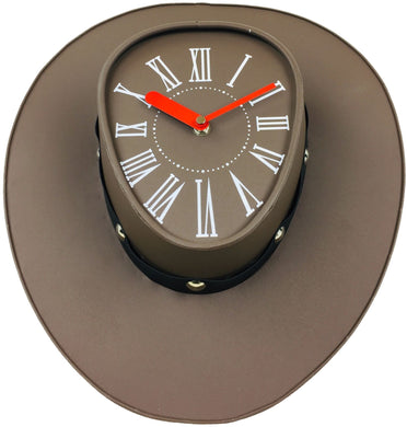 Brown cowboys hat Clock